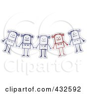 Royalty Free RF Clipart Illustration Of A Unique Red Stick Woman Standing Out Of A Group On Graph Paper