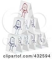 Pyramid Of Stick Businessmen Cards Stacked