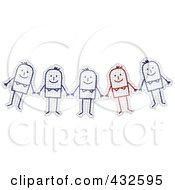 Royalty Free RF Clipart Illustration Of A Unique Red Stick Man Standing Out Of A Group On Graph Paper