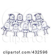Royalty Free RF Clipart Illustration Of A Happy Team Of Stick Men And Women Holding Hands On Graph Paper