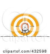 Royalty Free RF Clipart Illustration Of A Stick Businessman Standing In Front Of An Orange Target