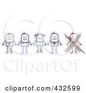 Royalty Free RF Clipart Illustration Of A Crossed Out Mad Stick Man By A Group Of Stick People Holding Hands On Graph Paper