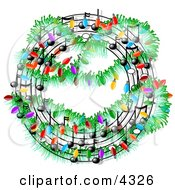 Christmas Music Symbols Decorated With Lights Clipart