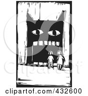 Black And White Children By A Big Mouthed Monster Woodcut Panel
