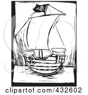 Royalty Free RF Clipart Illustration Of A Black And White Pirate Ship Woodcut Panel by xunantunich