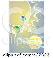 Royalty Free RF Clipart Illustration Of A Solar System Over Gradient Blue by xunantunich