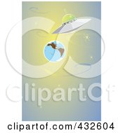 Royalty Free RF Clipart Illustration Of A Ufo Flying Past Earth In Outer Space