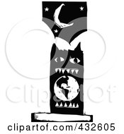 Black And White Woodcut Styled Monster Eating Earth