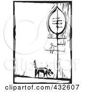 Royalty Free RF Clipart Illustration Of A Black And White Wolf Under A Girl In A Tree Woodcut Panel