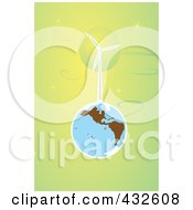 Royalty Free RF Clipart Illustration Of A Wind Turbine On Earth In Outer Space by xunantunich