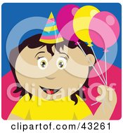 Clipart Illustration Of A Mexican Birthday Girl Holding Balloons