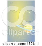 Royalty Free RF Clipart Illustration Of A Saturn In Orange And Blue Outer Space by xunantunich