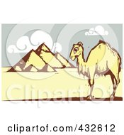Royalty Free RF Clipart Illustration Of A Lone Camel Near The Egyptian Pyramids by xunantunich