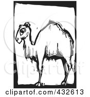 Royalty Free RF Clipart Illustration Of A Black And White Camel Woodcut Panel 1