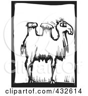 Royalty Free RF Clipart Illustration Of A Black And White Camel Woodcut Panel 2