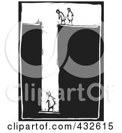 Royalty Free RF Clipart Illustration Of A Black And White Woman Trapped Woodcut Panel