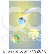 Royalty Free RF Clipart Illustration Of A Ufo Flying Through The Solar System by xunantunich