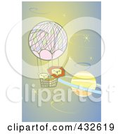 Lions In A Hot Air Balloon Floating Past A Planet