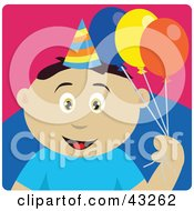 Clipart Illustration Of A Mexican Birthday Boy Holding Balloons