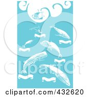 Royalty Free RF Clipart Illustration Of A Pirate Ship And Whales With Banners On Blue by xunantunich