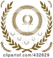 Royalty Free RF Clipart Illustration Of A Digital Collage Of Olive Wreaths 2 by BestVector