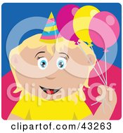 Clipart Illustration Of A Caucasian Birthday Girl Holding Balloons
