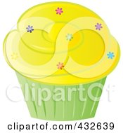 Royalty Free RF Clipart Illustration Of A Cupcake With Sprinkles And Yellow Frosting In A Green Wrapper by Pams Clipart