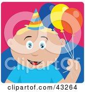 Clipart Illustration Of A Caucasian Birthday Boy Holding Balloons