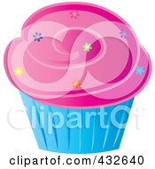 Royalty Free RF Clipart Illustration Of A Cupcake With Sprinkles And Pink Frosting In A Blue Wrapper by Pams Clipart