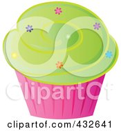 Royalty Free RF Clipart Illustration Of A Cupcake With Sprinkles And Green Frosting In A Pink Wrapper by Pams Clipart