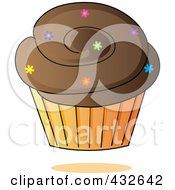 Royalty Free RF Clipart Illustration Of A Chocolate Cupcake With Sprinkles In An Orange Wrapper by Pams Clipart
