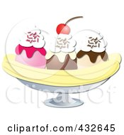Banana Split With Strawberry Chocolate And Vanilla Ice Cream With Whipped Cream And A Cherry