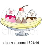 Banana Split With Whipped Cream And A Cherry