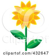 Royalty Free RF Clipart Illustration Of A Shiny Sunflower by Pams Clipart