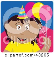 Clipart Illustration Of A Hispanic Birthday Girl Holding Balloons