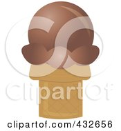 Royalty Free RF Clipart Illustration Of A Chocolate Sugar Ice Cream Cone by Pams Clipart