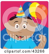 Clipart Illustration Of A Hispanic Birthday Boy Holding Balloons