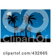 Royalty Free RF Clipart Illustration Of A Silhouetted Sailboat By A Tropical Island With Palm Trees Against A Starry Blue Sky