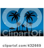 Silhouetted Tropical Island With Palm Trees And An Umbrella Against A Starry Blue Sky