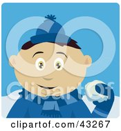 Clipart Illustration Of A Mexican Boy Throwing Snowballs by Dennis Holmes Designs