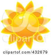 Royalty Free RF Clipart Illustration Of A Glossy Summer Sun by Pams Clipart