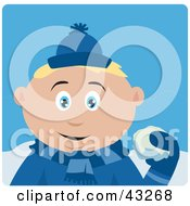 Clipart Illustration Of A Caucasian Boy Throwing Snowballs by Dennis Holmes Designs