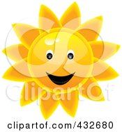 Royalty Free RF Clipart Illustration Of A Winking Glossy Summer Sun Face