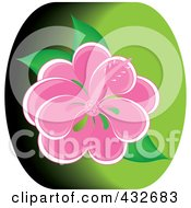Royalty Free RF Clipart Illustration Of A Pretty Pink Hibiscus Flower On Green by Pams Clipart