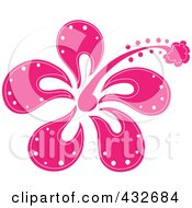 Royalty Free RF Clipart Illustration Of A Pretty Pink Hibiscus Flower Logo by Pams Clipart