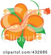 Royalty Free RF Clipart Illustration Of A Pretty Orange Hibiscus Flower Logo by Pams Clipart