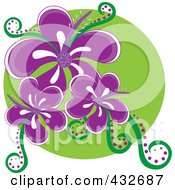 Royalty Free RF Clipart Illustration Of A Logo Of Three Purple Hibiscus Flowers On A Green Circle by Pams Clipart