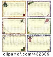 Digital Collage Of Christmas Folk Art Styled Holiday Note Or Recipe Cards