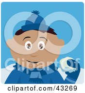 Clipart Illustration Of A Hispanic Boy Throwing Snowballs