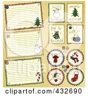 Digital Collage Of Christmas Country Folk Art Styled Stickers And Tags